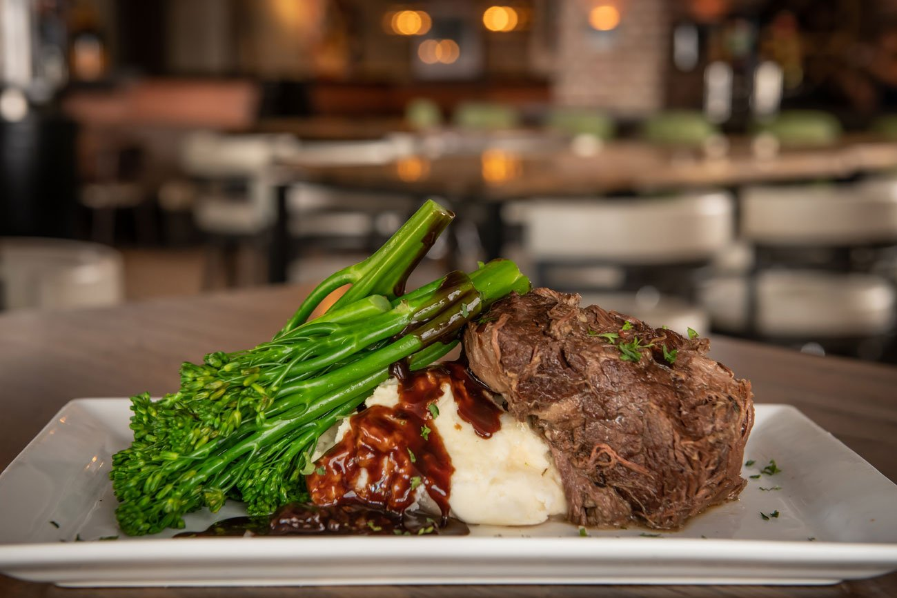 Braised beef short rib and broccolini with mashed potatoes